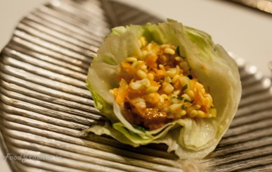 Injipuli koshambri A salad of tempered lentils and lettuce with ginger-tamarind yogurt quenelles