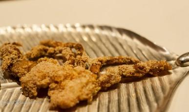 Denji rawa fry Semolina crusted soft shell crabs, fried crisp
